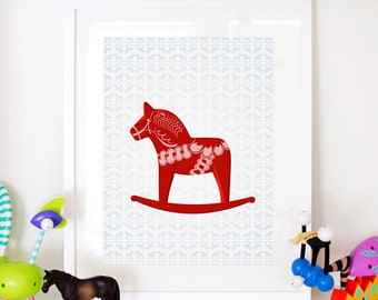 "Rocking Dala Horse Kids Print - Home Decor Nursery Poster 11x17"" or A3"