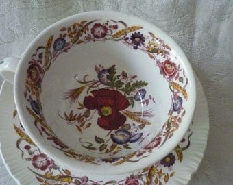 Wedgwood Cornflower Cup and Saucer, English Transferware, Polychrome