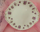 Vintage Plate Royal Albert China Sweet Violets Platter Cake Plate with Handles Shabby Chic Vintage Wedding