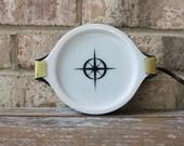 SALE // Vintage PYREX milk glass electric hot plate with mid century atomic starburst black design works 50's