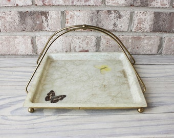 Mid century 1950s ART-LINE of California butterfly fiberglass tray with brass carrier handle