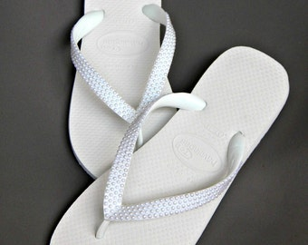 Havaianas Flip Flops w/ Pearls Cariris Wedge heel Custom w/ Swarovski Crystal sandal Beach Wedding Shoe Bridal Bridesmaid Flower Girl Thong