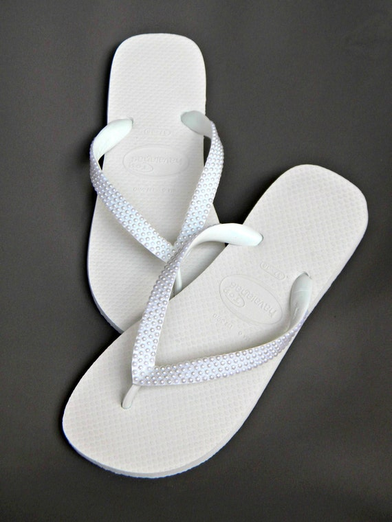 Havaianas Flip Flops w/ Pearls Cariris Wedge heel Custom w/ Swarovski Crystal sandal Beach Wedding Shoe Bridal Bridesmaid Flower Girl Thong