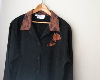 Vintage Blouse/Jacket with Brown Floral Contrast Collar and Rose emblem