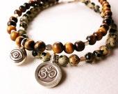 Evil Eye Tiger's Eye Bracelet, Yoga Jewellery, Protection Jewellery, Thai Karen Silver
