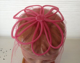 vintage. HAT. netting. FLOWER. bubblegum. PINK. 1950s.