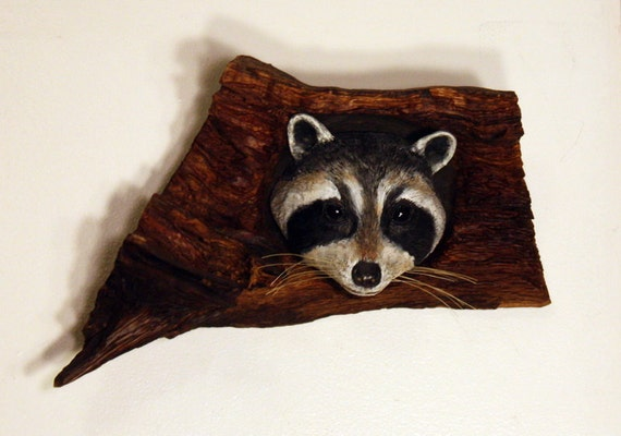 Wall Sculpture Raccoon Wood Carving Hand Carved By By