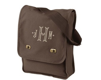 Monogrammed Field Bag -  Personalized Canvas Hipster Bag in 7 colors - cross body