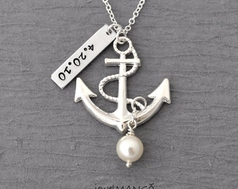 Personalized anchor necklace, Wedding, Keepsake necklace, turquoise,special day, anniversary, wedding date, engagement, nautical, birthstone
