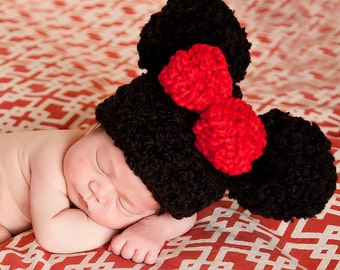 Red Bow Baby Hat Black Pom Pom Hat Newborn Baby Girl Hat Newborn Baby Hat Animal Ear Baby Hat Fun Photo Prop Cute Photography Prop