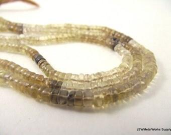 Multi-Quartz Heishi Beads, 4 x 1 mm - 5 x 3 mm, 14 inch Strand, Whole Strand