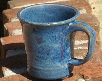 Big Pottery Coffee Mug, Ceramic Coffee Mug, Blue Purple, hand thrown stoneware pottery mug, handmade ceramic mug, pottery gift