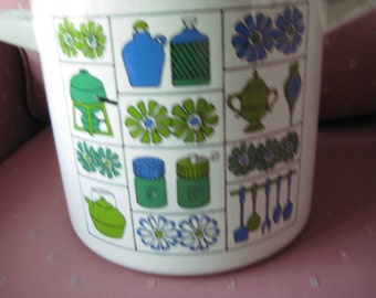 Vintage Mid Century Modern Enamelware Graniteware Four Quart Stock Pot With Lid