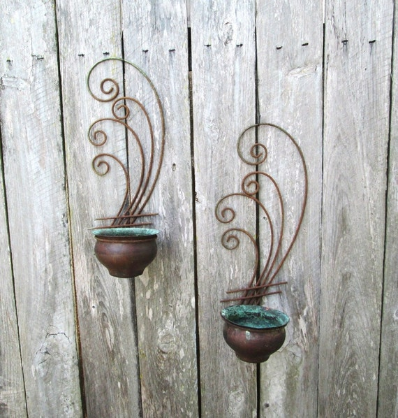 Wall Sconces Planters : Mid Century Wall Sconce Planters Rustic by TimelezVintage on Etsy