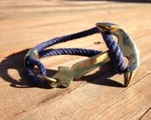 Nautical Rope Brass Anchor Bracelet - Navy