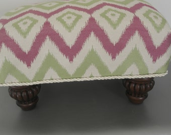 SALE 20 %  off Pink and Green Chevron Footstool