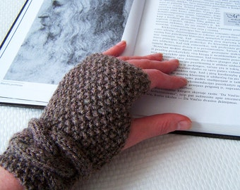 Brown fingerless gloves, cable knitted arm warmers, Ready to ship