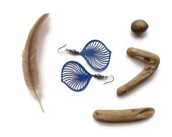 price reduced // large feather earrings // blue brass boho jewelry
