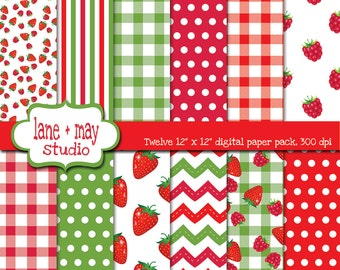 strawberry raspberry picnic patterns - digital scrapbook papers - INSTANT DOWNLOAD