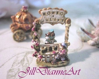 Tiny mechanical antique style toy ROMEO (arm lifts rose) JULIET (side to side)  Dollhouse Miniature - Jill Dianne