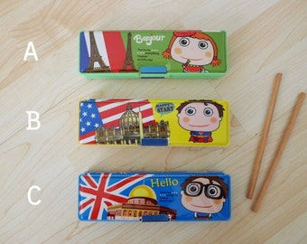 Vintage dead stock, new old stock, magnetic pencil case, rectangle shaped, plastic pencil box, green blue yellow, lovely colorful and unique