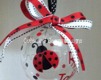 Personalized Ladybug Glass Ornament