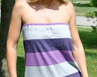 Women's Purple Big Stripe Tube Top Shirt   Small