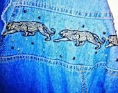 Denim Jean Dress Safari Cat 90's Long Sleeve Hipster Jean MONIQUE FASHIONS