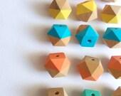 Neon Geometric Mix Wood Beads,Hand Painted wood Beads, Summer Geometric Jewelry,Do it Yourself Geometric necklace