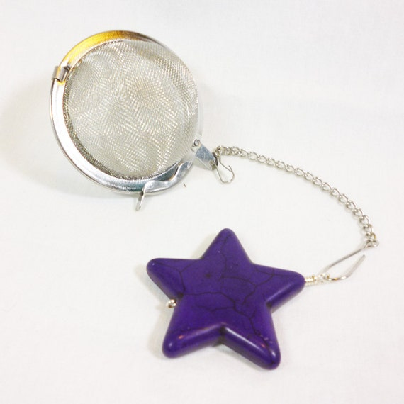 tea infuser with purple charm by dryadtea on etsy