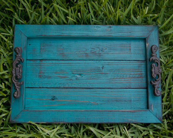 decorative serving tray turquoise distressed with black glaze topcoat - Decorative Serving Trays