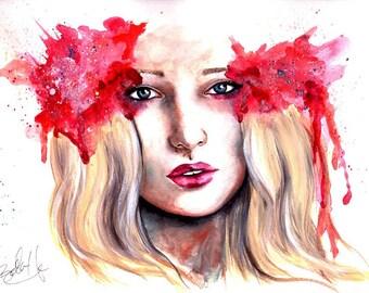 Original Watercolor 'Carolina Fashion Squad' Red Portrait Watercolor Portrait Splatter Iridescent Painting 9 x 12 Surreal Girl Painting
