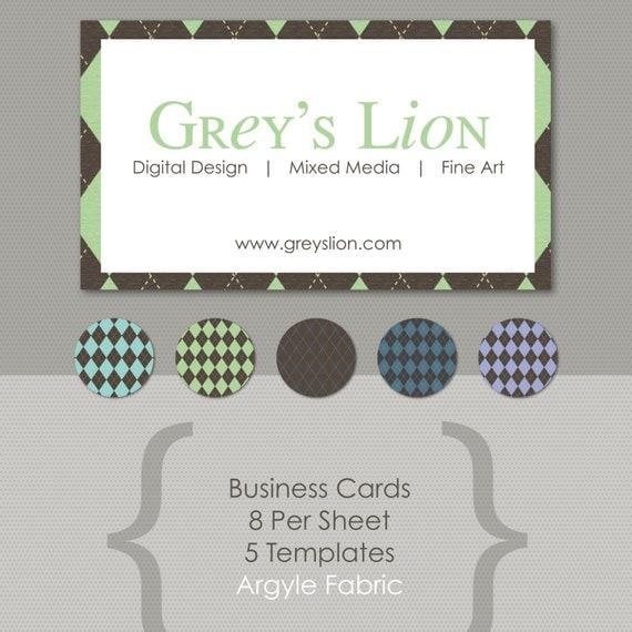 argyle fabric business card templates print at home designed. Black Bedroom Furniture Sets. Home Design Ideas