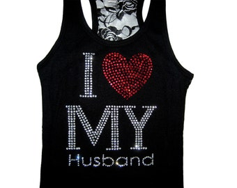 Bride Tank Top, Lace Tank Top, Anniversary Gift, Wedding Gift, Bridal Shower Gift, Valentines Day Gift, I Love My Husband Tank Top, Tank Top