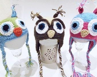 Baby Owl Earflap hats
