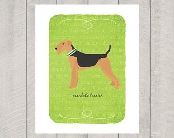 Airedale Terrier Breed Custom Dog Art