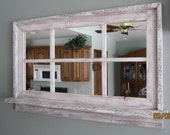 RESERVED for Andrew - Barnwood Window Mirror with Shelf