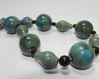 Handmade Necklace Green, Blue, & Black Ceramic and Glass Beads