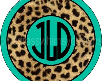 "Turquoise, Cheetah Print, Monogrammed 10"" Melamine Plate- ADDITIONAL SHIPPING REQUIRED for Christmas Delivery!"