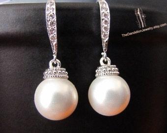 SALE 10% OFF: Pearl Earrings Wedding Jewelry Bridal Bridesmaid Gift Bridesmaid Earrings Drop Earrings Dangle Earrings Jewelry Gift