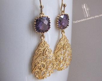 SALE 10% OFF: Glass Earrings Amethyst - Dangle Earrings Drop Earrings Filigree Earrings Gift Jewelry
