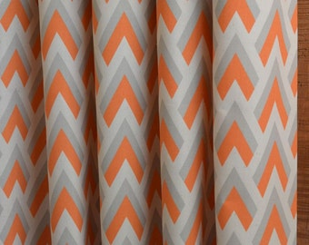 SUMMER SALE! Curtains, Designer Curtain Panels 24W or 50W x 63, 84, 90, 96 or 108L Zapp Mandarin Orange Grey Natural shown