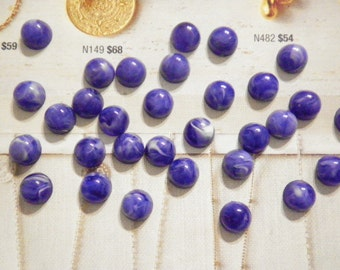 24 Lucite 9mm Blue Marble Cabochons