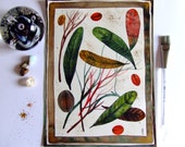 Still Life Feathers Leaves Painting Nature Decor Red Green Gold Leaves Wall Art Autumn Fine Art Still Life Original Painting Fruits