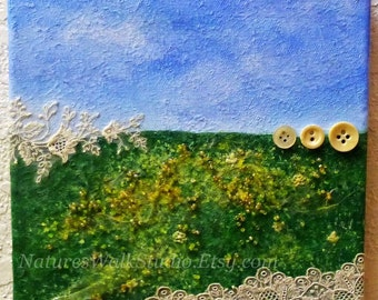 Field of Buttercups Abstract Landscape, Washington Palouse Rolling Hills Yellow Flowers Upcycled Mixed Media