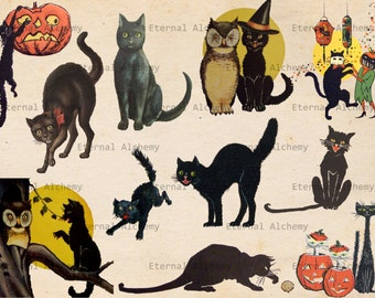 Vintage Halloween Images - Cats - Set 1 - 11 Clipart/Digital Images - Instant download