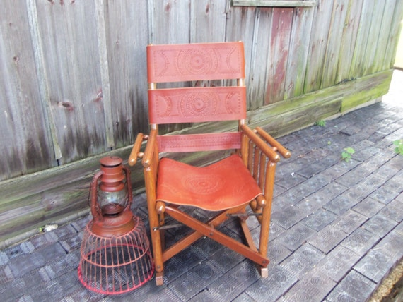 Antique Leather and Wood Folding Rocking Sarchi Chair 1940s Costa Rica ...