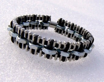 Industrial Hex Nut Zipper Bracelet