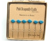 Little Blue Birds Pin Toppers / Decorative Pins set of 6 - PT23