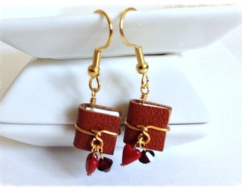 Leather Mini Book Earrings, January Birthstone Garnet Swarovski Crystal with Surgical Steel Earwires - GE48